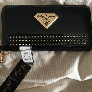 Baby Phat Black Patent Studded Zip Wristlet Wallet
